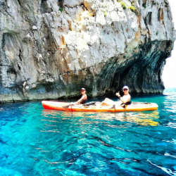 Spending time in nature with friend and family by kayak in National Park Mljet